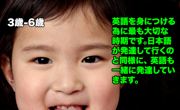 英語を身につける為に最も大切な時期です。日本語が発達して行くのと同様に、 英語も一緒に発達していきます。